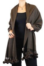 <b>BELLE FARE</b> - BROWN 100% CASHMERE & MINK FUR POM-POM SCARF/WRAP/SHAWL - from THE REAL FUR DEAL & DAVID APPEL FURS new and pre-owned online fur store!