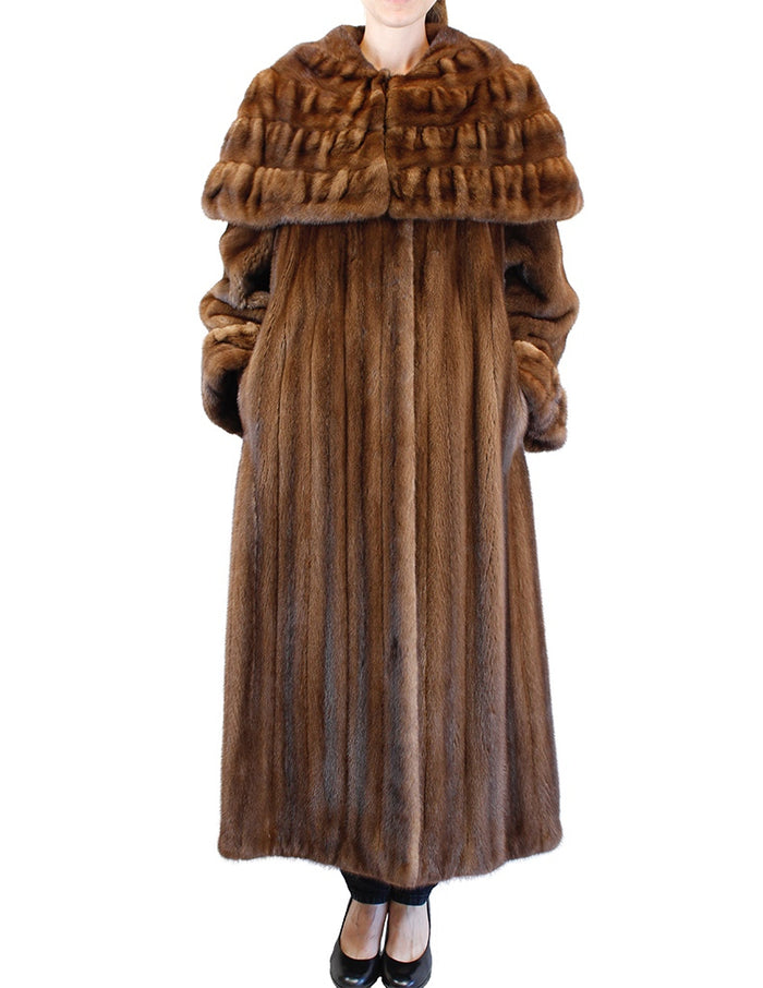 PRE-OWNED XL/XXL BROWN LUNARAINE MINK FUR COAT W/ PLEATED CAPE COLLAR & CUFFS! - from THE REAL FUR DEAL & DAVID APPEL FURS new and pre-owned online fur store!