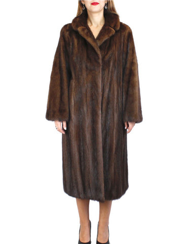 PRE-OWNED MEDIUM/LARGE BROWN MAHOGANY MINK FUR COAT WITH LEATHER BELT