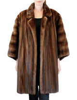 PRE-OWNED XL/XXL OSCAR DE LORENTA BROWN MAHOGANY MINK FUR KIMONO STYLE COAT - from THE REAL FUR DEAL & DAVID APPEL FURS new and pre-owned online fur store!