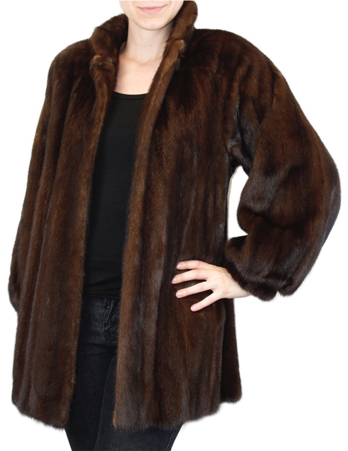 PRE-OWNED MEDIUM BROWN MAHOGANY MINK FUR JACKET WITH BILLOW SLEEVES - from THE REAL FUR DEAL & DAVID APPEL FURS new and pre-owned online fur store!