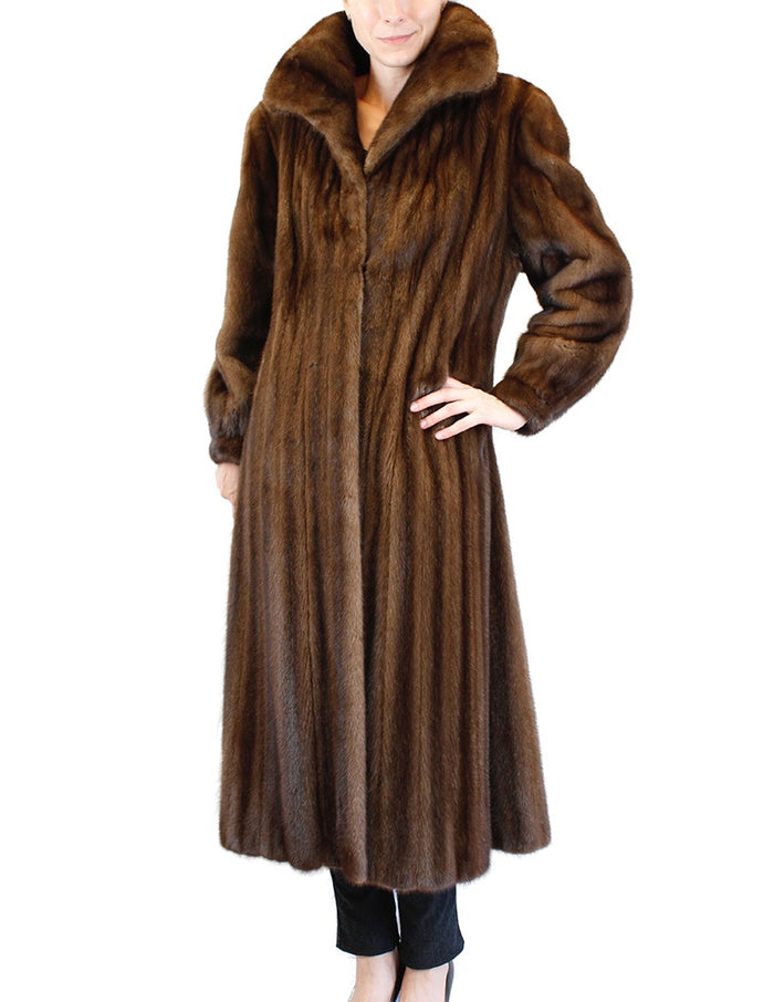 PRE-OWNED LARGE I. MAGNIN LONG BROWN LUNARAINE MINK FUR COAT - FEMALE, FULLY LET OUT - from THE REAL FUR DEAL & DAVID APPEL FURS new and pre-owned online fur store!