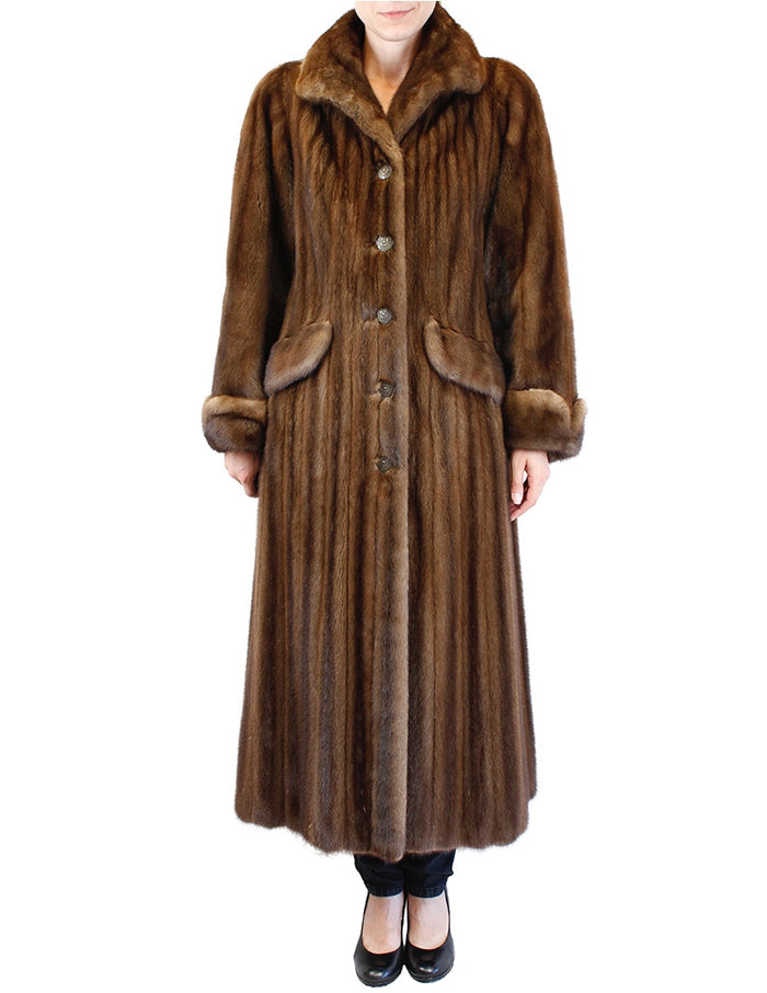PRE-OWNED <b>OSCAR DE LORENTA</b> MEDIUM/LARGE BROWN LUNARAINE MINK FUR LONG COAT - FEMALE, FULLY LET OUT - from THE REAL FUR DEAL & DAVID APPEL FURS new and pre-owned online fur store!