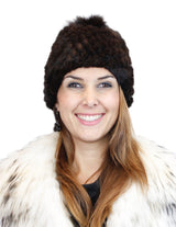 KNITTED MINK FUR & FOX FUR POM-POM BEANIE, HAT - from THE REAL FUR DEAL & DAVID APPEL FURS new and pre-owned online fur store!