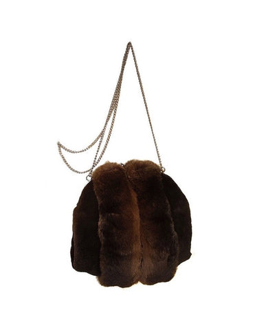 MINK & CHINCHILLA FUR MUFF PURSE, BAG