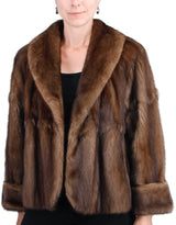 PRE-OWNED LARGE NATURAL BROWN LUNARAINE MINK FUR PLEATED SWING JACKET, SKIN-ON-SKIN - from THE REAL FUR DEAL & DAVID APPEL FURS new and pre-owned online fur store!