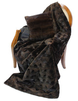 BROWN SHEARED OVAL MINK FUR THROW, BLANKET - from THE REAL FUR DEAL & DAVID APPEL FURS new and pre-owned online fur store!