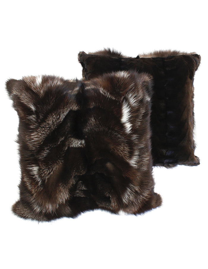 BROWN SILVER FOX FUR PILLOW REVERSIBLE TO DARK SHEARED MINK - from THE REAL FUR DEAL & DAVID APPEL FURS new and pre-owned online fur store!