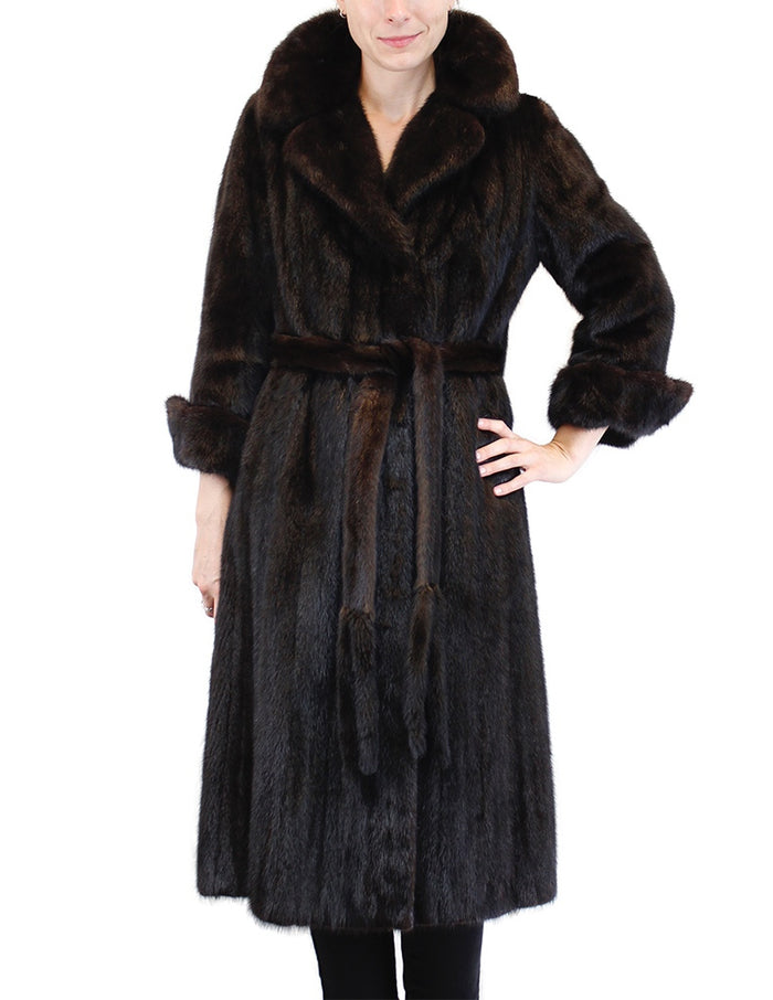 PRE-OWNED SMALL/MEDIUM <b>BULLOCK'S / DONALD BROOKS</b> LONG DARK BROWN MINK FUR COAT w/BELT - from THE REAL FUR DEAL & DAVID APPEL FURS new and pre-owned online fur store!