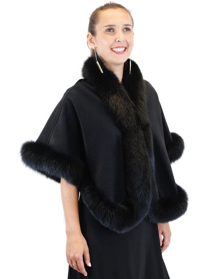 <b>BELLE FARE</b> - BLACK CASHMERE AND FOX FUR SHORT CAPE, PONCHO - from THE REAL FUR DEAL & DAVID APPEL FURS new and pre-owned online fur store!