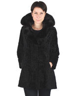 PRE-OWNED MEDIUM/LARGE VINTAGE BLACK AMERICAN BROADTAIL COAT W/ MINK FUR COLLAR! - from THE REAL FUR DEAL & DAVID APPEL FURS new and pre-owned online fur store!