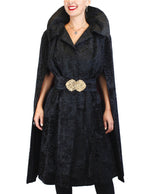PRE-OWNED MEDIUM BLACK BROADTAIL FUR CAPE W/ BROADTAIL BELT - from THE REAL FUR DEAL & DAVID APPEL FURS new and pre-owned online fur store!