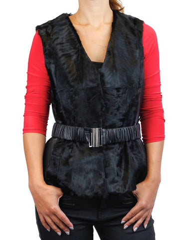 BLACK BROADTAIL & LEATHER VEST W/ LEATHER BELT - from THE REAL FUR DEAL & DAVID APPEL FURS new and pre-owned online fur store!