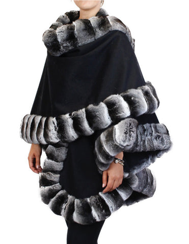 BLACK CASHMERE PONCHO/WRAP/SHAWL W/ CHINCHILLA FUR TRIM - from THE REAL FUR DEAL & DAVID APPEL FURS new and pre-owned online fur store!