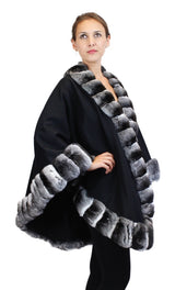 BLACK CASHMERE CAPE/PONCHO/WRAP WITH CHINCHILLA FUR TRIM - from THE REAL FUR DEAL & DAVID APPEL FURS new and pre-owned online fur store!