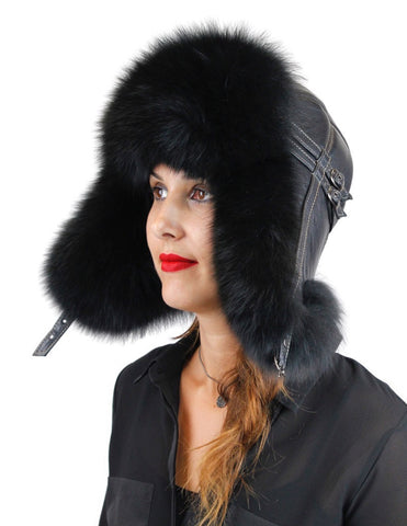 BLACK FOX FUR & BLACK LEATHER AVIATOR/TROOPER HAT - from THE REAL FUR DEAL & DAVID APPEL FURS new and pre-owned online fur store!