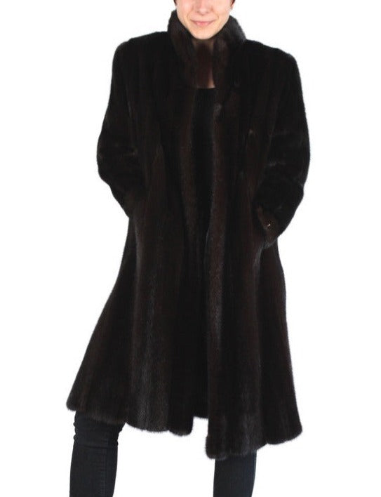 PRE-OWNED MEDIUM/LARGE BLACK GLAMA! DARK SPLIT MALE MINK FUR COAT, EXCELLENT CONDITION! - from THE REAL FUR DEAL & DAVID APPEL FURS new and pre-owned online fur store!