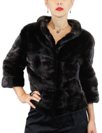 NATURAL BLACK GLAMA MINK FUR SHORT JACKET - ¾ SLEEVES, JACKIE-O STYLE! - from THE REAL FUR DEAL & DAVID APPEL FURS new and pre-owned online fur store!