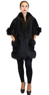 BLACK DYED KALGAN LAMB & FOX FUR TRIM SHORT-SLEEVED COAT - from THE REAL FUR DEAL & DAVID APPEL FURS new and pre-owned online fur store!