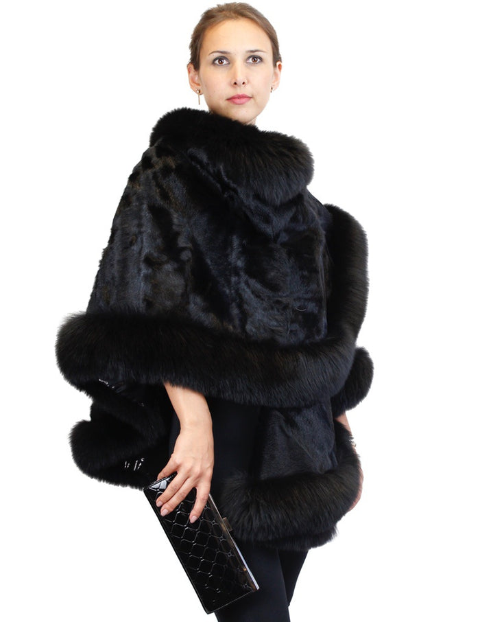 BLACK KID SKIN/BROADTAIL LAMB FUR & FOX FUR PONCHO/WRAP/SHAWL - from THE REAL FUR DEAL & DAVID APPEL FURS new and pre-owned online fur store!