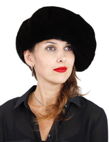 NATURAL BLACK GLAMA MINK FUR LARGE BERET HAT - from THE REAL FUR DEAL & DAVID APPEL FURS new and pre-owned online fur store!