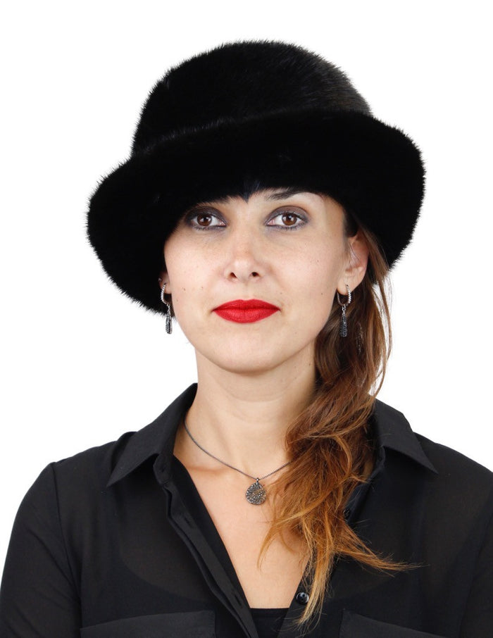 BLACK MINK FUR FEDORA HAT W/ PLAYFUL ADJUSTABLE BRIM - from THE REAL FUR DEAL & DAVID APPEL FURS new and pre-owned online fur store!
