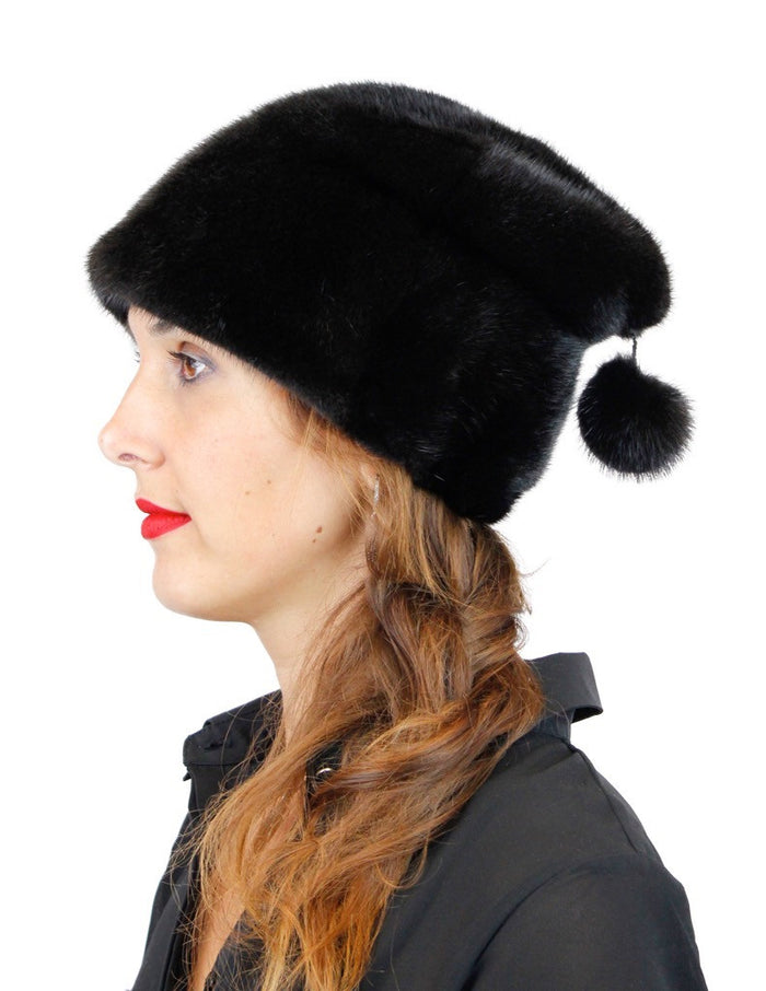 BLACK MINK FUR SLOUCH HAT W/ MINK POM-POM - from THE REAL FUR DEAL & DAVID APPEL FURS new and pre-owned online fur store!