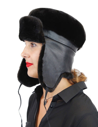 NATURAL BLACK GLAMA MINK FUR & LEATHER TROOPER HAT - from THE REAL FUR DEAL & DAVID APPEL FURS new and pre-owned online fur store!