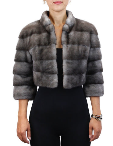 RARE GUN METAL BLUE IRIS FEMALE MINK FUR SHORT HORIZONTAL BOLERO JACKET - from THE REAL FUR DEAL & DAVID APPEL FURS new and pre-owned online fur store!