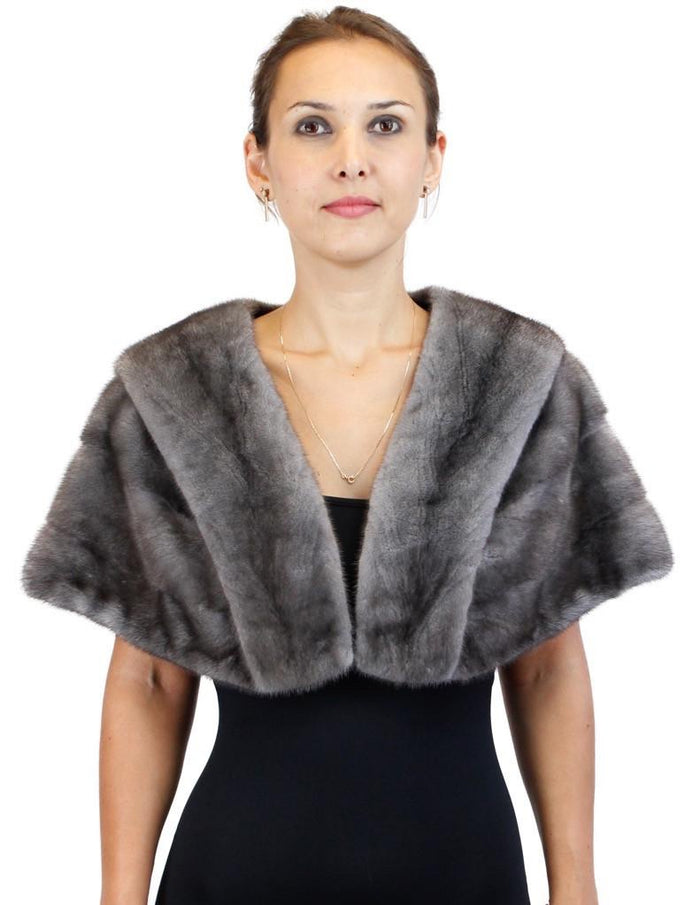 GUN METAL BLUE IRIS FEMALE MINK FUR STOLE/CAPELET - from THE REAL FUR DEAL & DAVID APPEL FURS new and pre-owned online fur store!