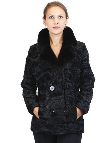 BLACK BROADTAIL SECTIONS JACKET W/ BLACK MINK FUR COLLAR - from THE REAL FUR DEAL & DAVID APPEL FURS new and pre-owned online fur store!