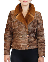BROWN DYED BROADTAIL SECTIONS FITTED DOUBLE-BREASTED JACKET W/ WHISKEY MINK FUR COLLAR - from THE REAL FUR DEAL & DAVID APPEL FURS new and pre-owned online fur store!