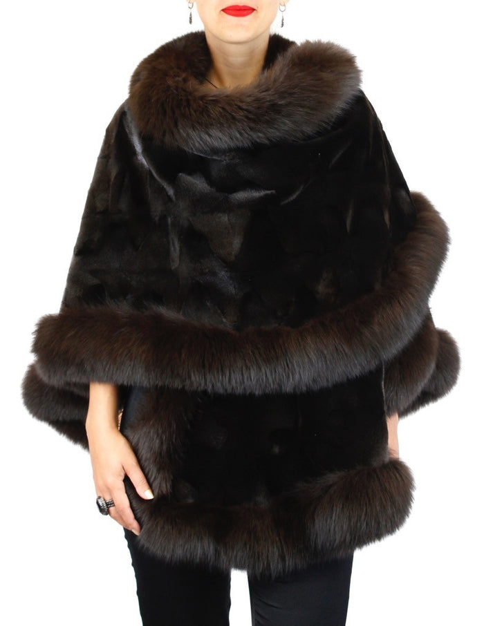 BROWN SHEARED TEXTURED MINK FUR SECTIONS PONCHO/SHAWL/WRAP W/ FOX FUR TRIM - from THE REAL FUR DEAL & DAVID APPEL FURS new and pre-owned online fur store!