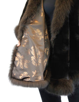 BROWN SHEARED TEXTURED MINK FUR SECTIONS CAPE/PONCHO/WRAP WITH FOX FUR TRIM - from THE REAL FUR DEAL & DAVID APPEL FURS new and pre-owned online fur store!