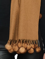 <b>BELLE FARE</b> - 100% PURE CASHMERE & MINK FUR POM-POM SCARF - from THE REAL FUR DEAL & DAVID APPEL FURS new and pre-owned online fur store!