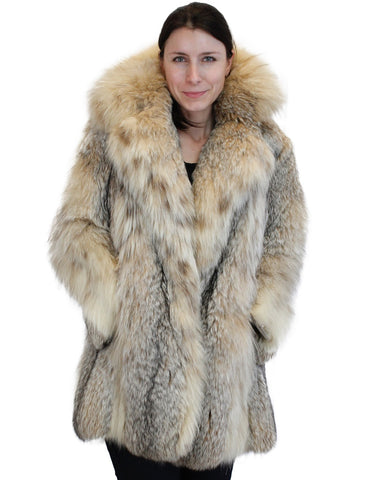 PRE-OWNED MEDIUM CANADIAN LYNX FUR JACKET, COAT W/LARGE COLLAR!