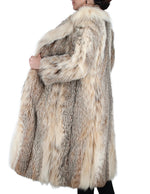 PRE-OWNED MEDIUM LONG CANADIAN LYNX FUR COAT WITH BIG NOTCH COLLAR AND BELT - from THE REAL FUR DEAL & DAVID APPEL FURS new and pre-owned online fur store!