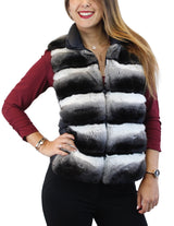 NATURAL CHINCHILLA FUR BLACK PUFF VEST - from THE REAL FUR DEAL & DAVID APPEL FURS new and pre-owned online fur store!