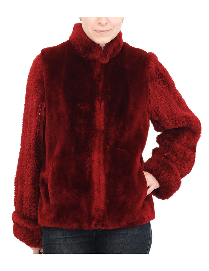 MEDIUM <B>CONVERTIBLE</B> RED SHEARED BEAVER FUR JACKET/VEST - REMOVABLE KNIT BEAVER SLEEVES! - from THE REAL FUR DEAL & DAVID APPEL FURS new and pre-owned online fur store!