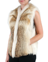 PRE-OWNED MEDIUM COYOTE FUR VEST WITH WHITE SHADOW FOX FUR TRIM - from THE REAL FUR DEAL & DAVID APPEL FURS new and pre-owned online fur store!
