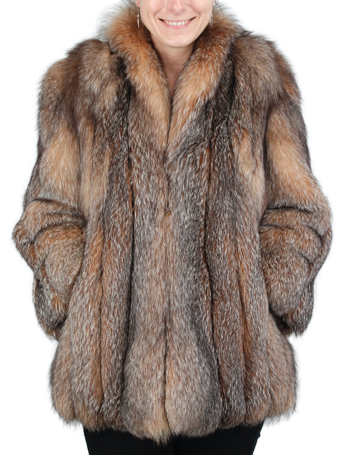 PRE-OWNED MEDIUM CRYSTAL FOX FUR JACKET - from THE REAL FUR DEAL & DAVID APPEL FURS new and pre-owned online fur store!