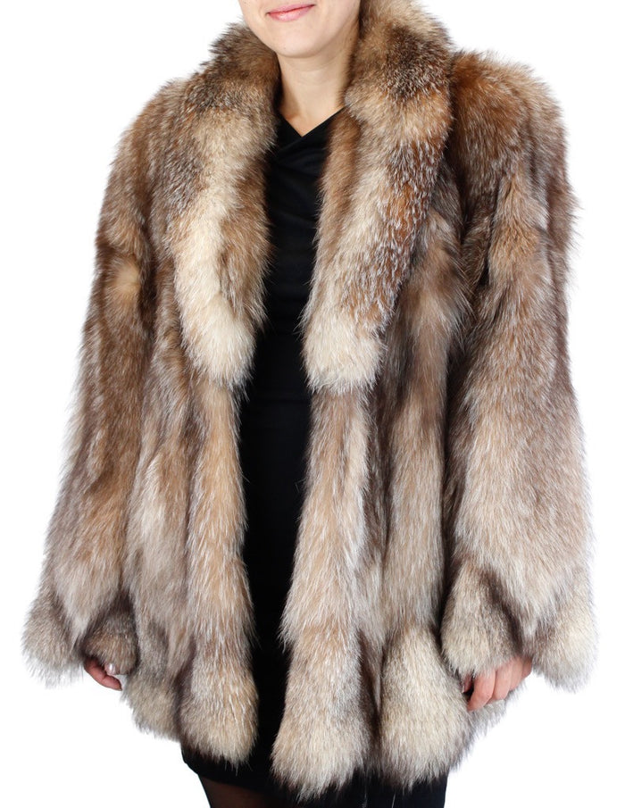a7d5b4d0216 PRE-OWNED LARGE CRYSTAL FOX FUR JACKET - XLNT CONDITION