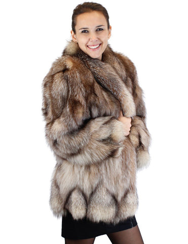 PRE-OWNED LARGE CRYSTAL FOX FUR JACKET - XLNT CONDITION, FUN DESIGN!