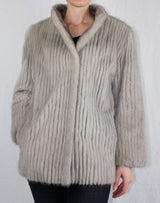 PRE-OWNED MEDIUM/LARGE CORDUROY CUT CERULEAN MINK FUR JACKET! CLEAN, SOFT GRAY FUR! - from THE REAL FUR DEAL & DAVID APPEL FURS new and pre-owned online fur store!