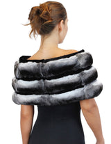 NATURAL CHINCHILLA FUR & BLACK SHEARED BEAVER FUR CAPELET WITH BOW - from THE REAL FUR DEAL & DAVID APPEL FURS new and pre-owned online fur store!
