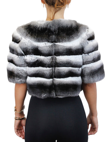 Horizontal NATURAL CHINCHILLA Fur Bolero Jacket - from THE REAL FUR DEAL new and pre-owned online fur store!