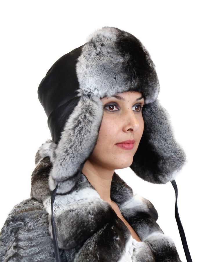 CHINCHILLA FUR & BLACK LEATHER TROOPER HAT - from THE REAL FUR DEAL & DAVID APPEL FURS new and pre-owned online fur store!