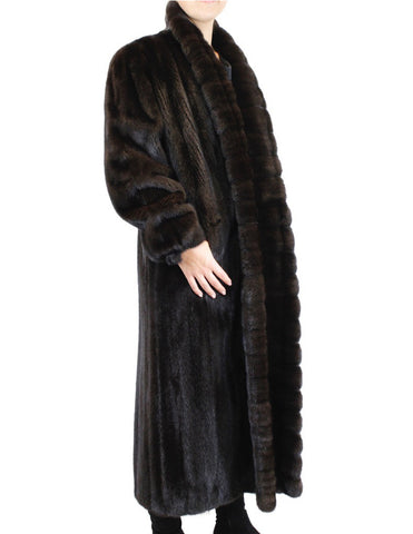 PRE-OWNED XL FULLY LET OUT NATURAL DARK MINK FUR LONG CROSS-CUT TUXEDO FRONT COAT