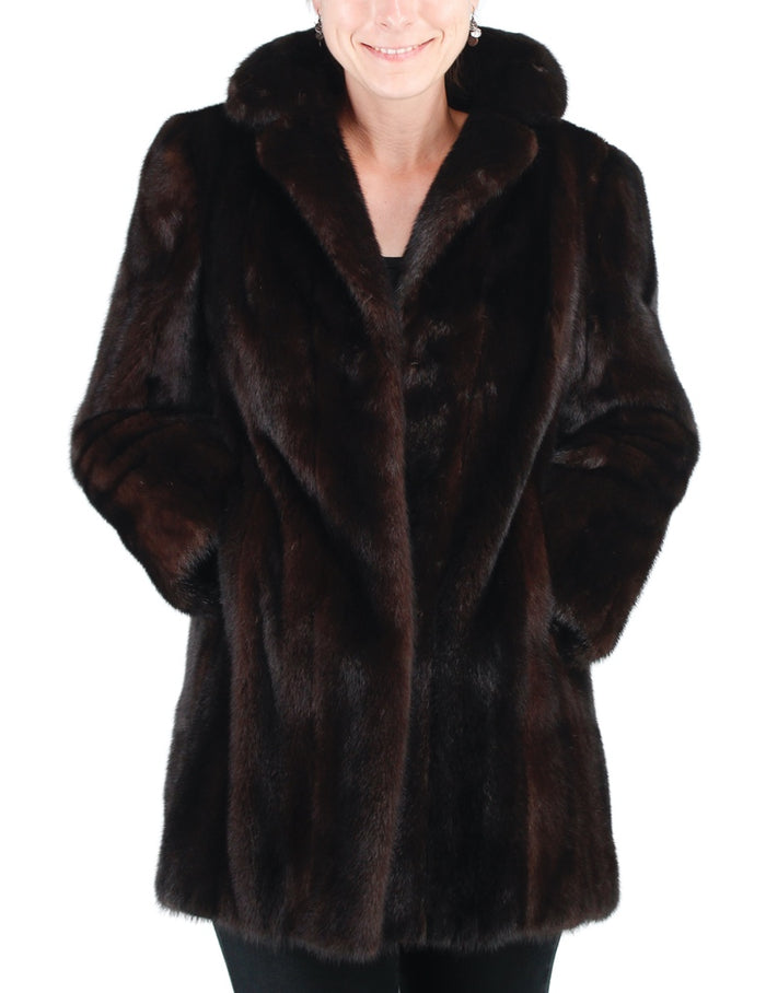 PRE-OWNED SMALL/MEDIUM DARK BROWN FEMALE MINK FUR STROLLER, COAT JACKET - from THE REAL FUR DEAL & DAVID APPEL FURS new and pre-owned online fur store!
