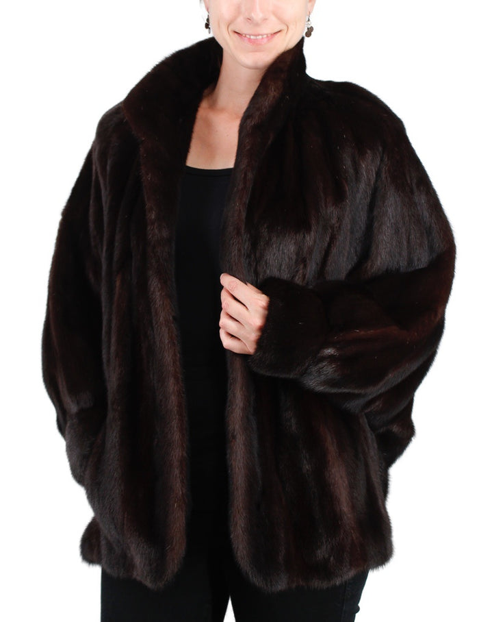 PRE-OWNED MEDIUM BATWING SLEEVE MINK FUR JACKET, DARK BROWN - from THE REAL FUR DEAL & DAVID APPEL FURS new and pre-owned online fur store!